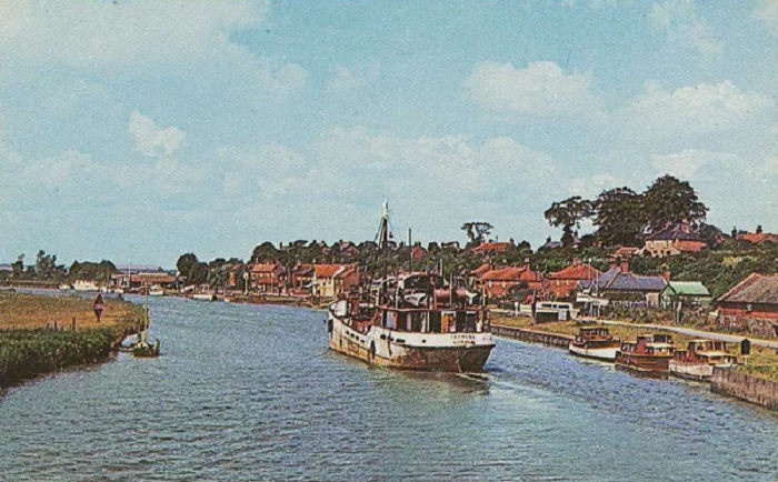 A coaster on the River Yare at Reedham c1960s